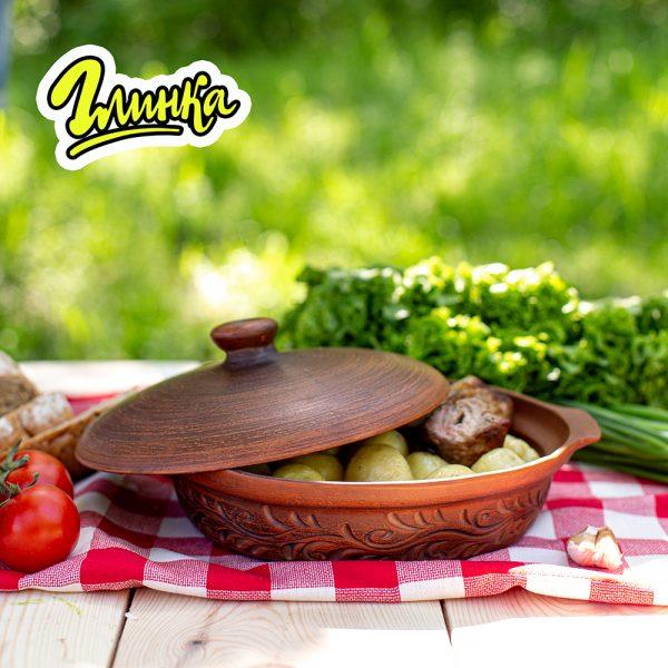 Сковорода из красной глины 23 см 1 л