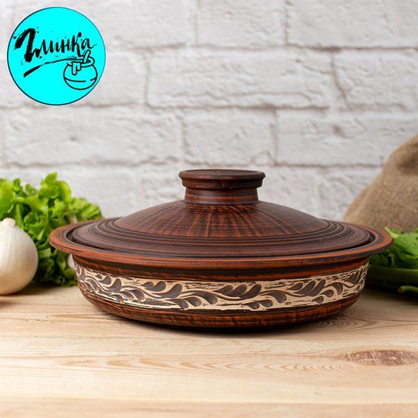Сковорода без ручек (ангоб) диаметр 29 см