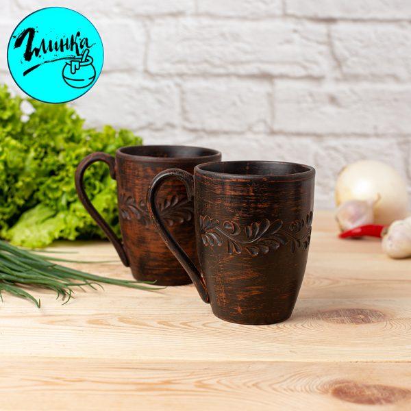 Чашка глиняная (резная) 350 мл